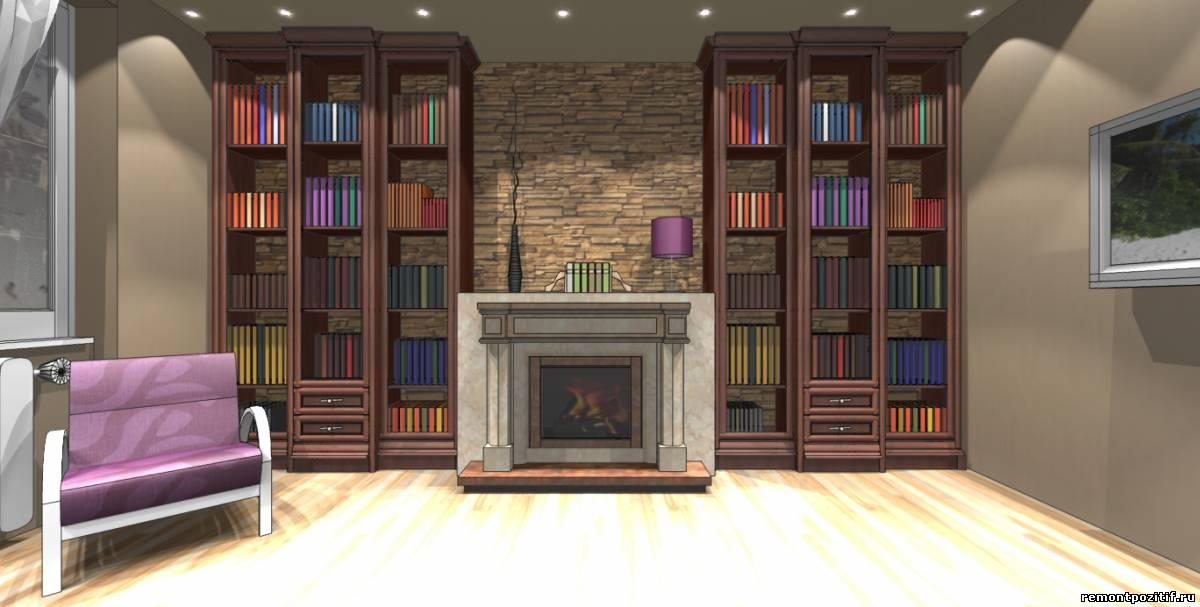 интерьер гостиной комнаты с камином
