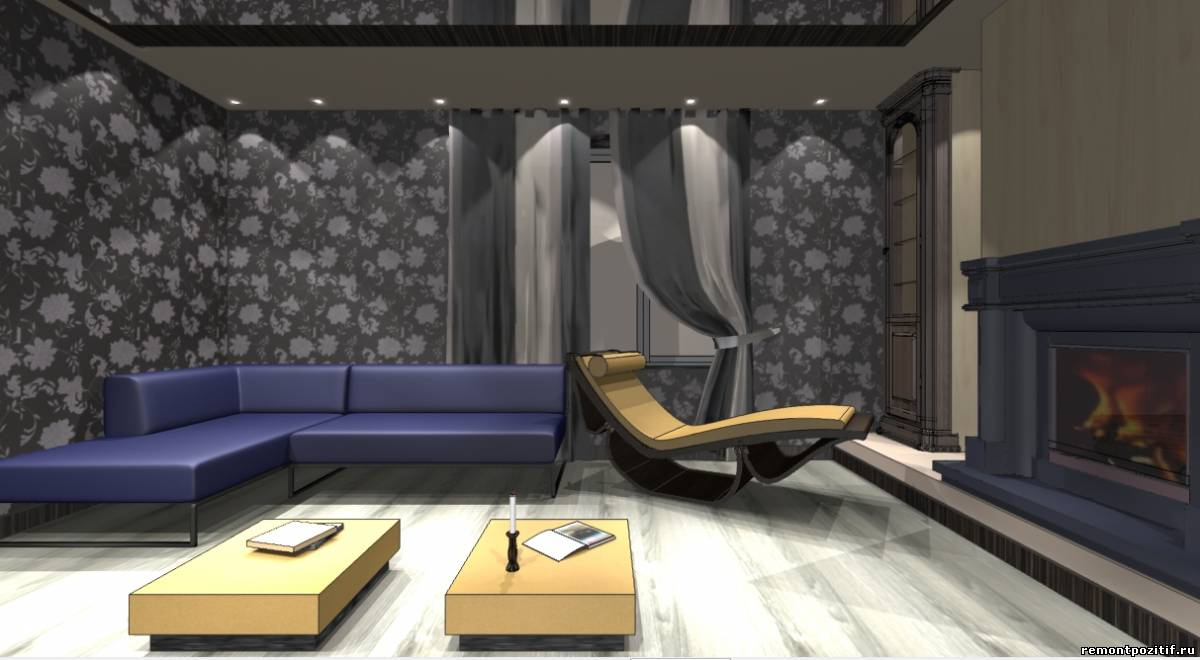 интерьер гостиной комнаты в сером цвете