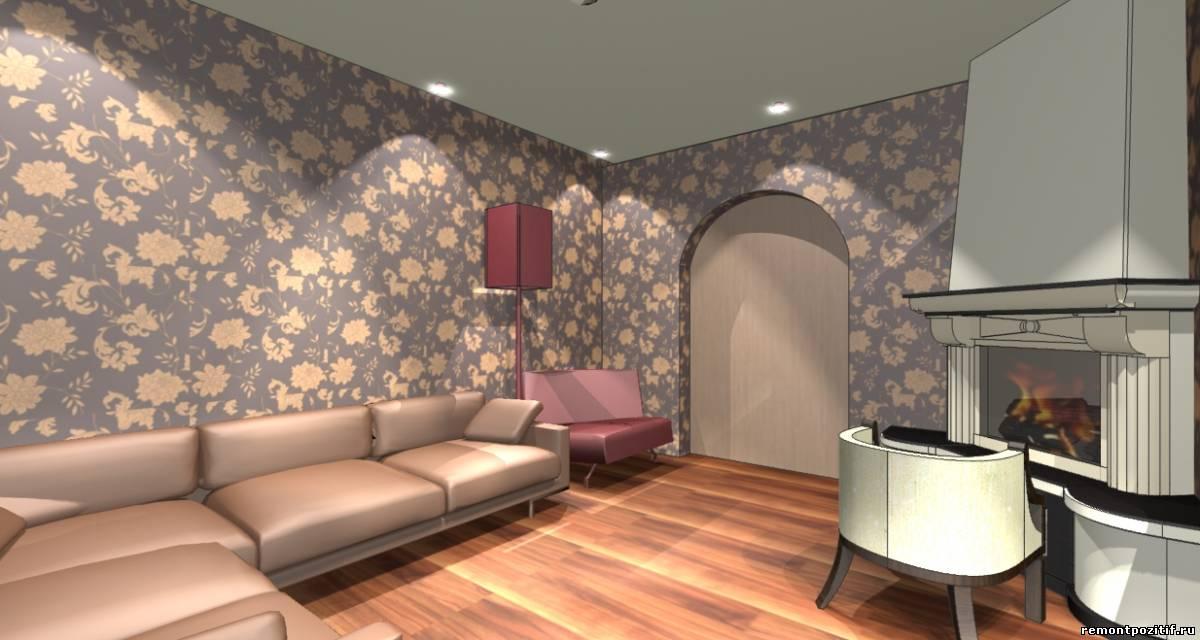 дизайн интерьера шоколадной гостиной