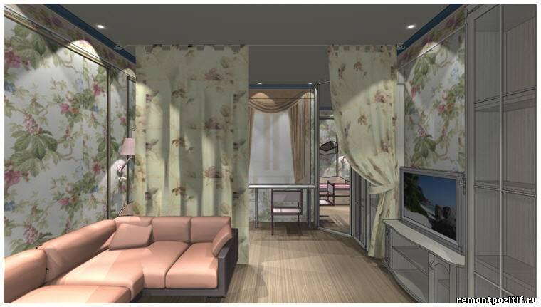 дизайн гостиной совмещенной с детской комнатой