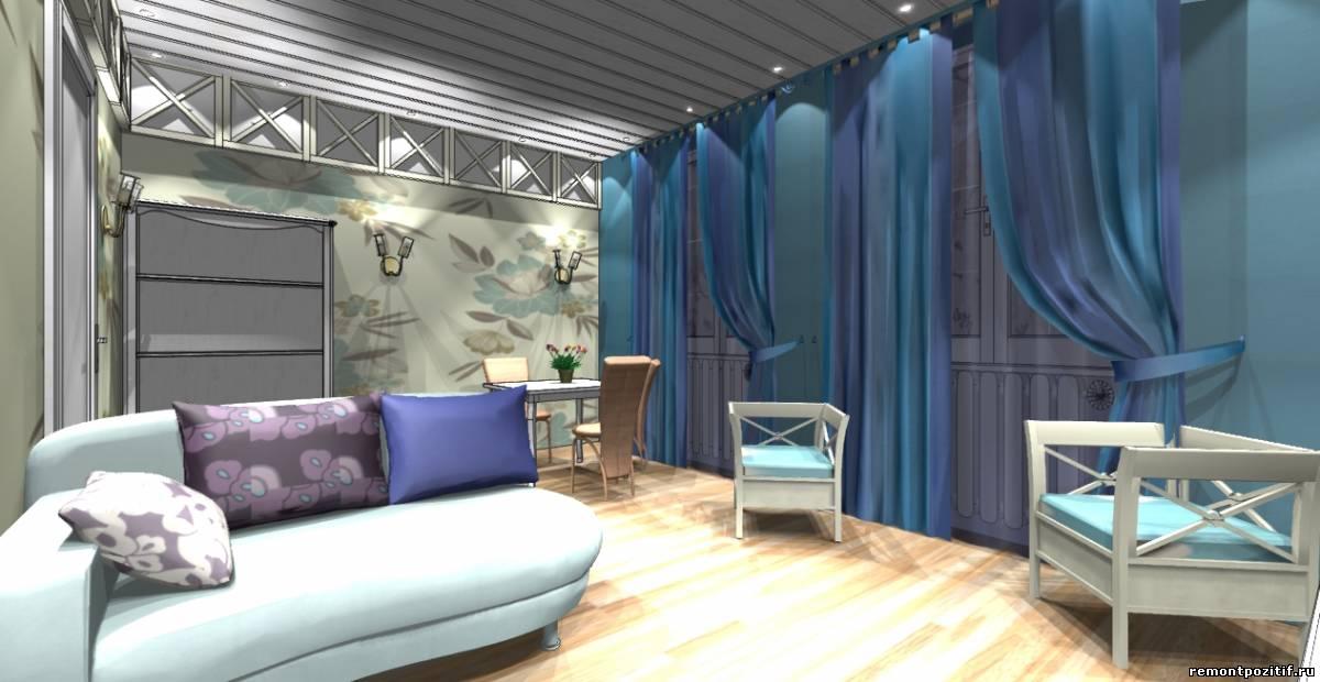 интерьер гостиной столовой в стиле прованс