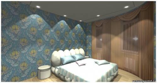дизайн проект спальни в квартире дома серии КОПЭ башня