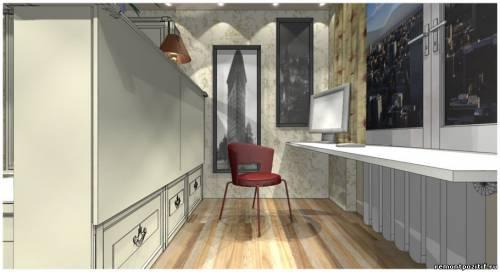 дизайн узкой спальни с рабочим местом