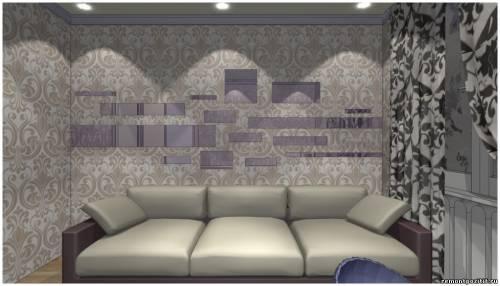 интерьер узкой спальной комнаты
