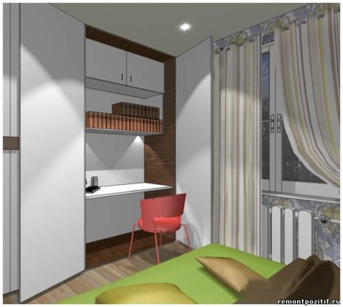 Дизайн спальни с рабочим местом в шкафу