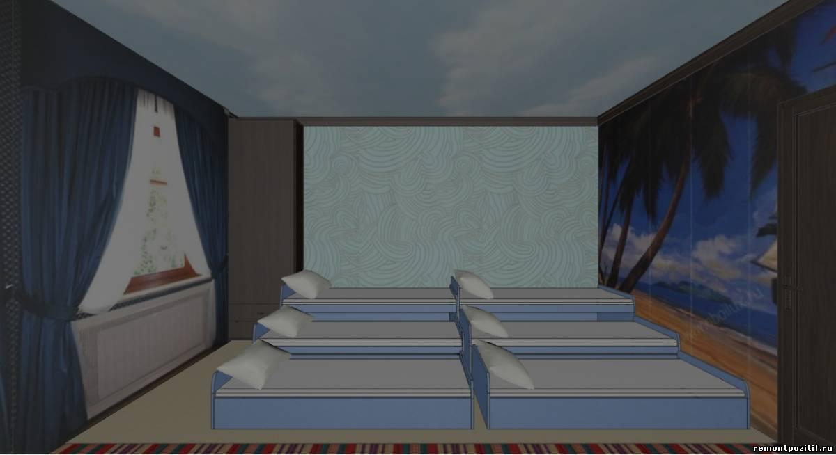 спальня в детском саду в морском стиле