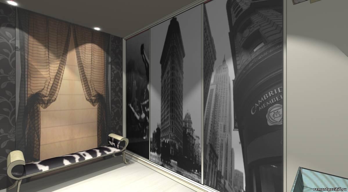 интерьер спальной комнаты с гардеробной