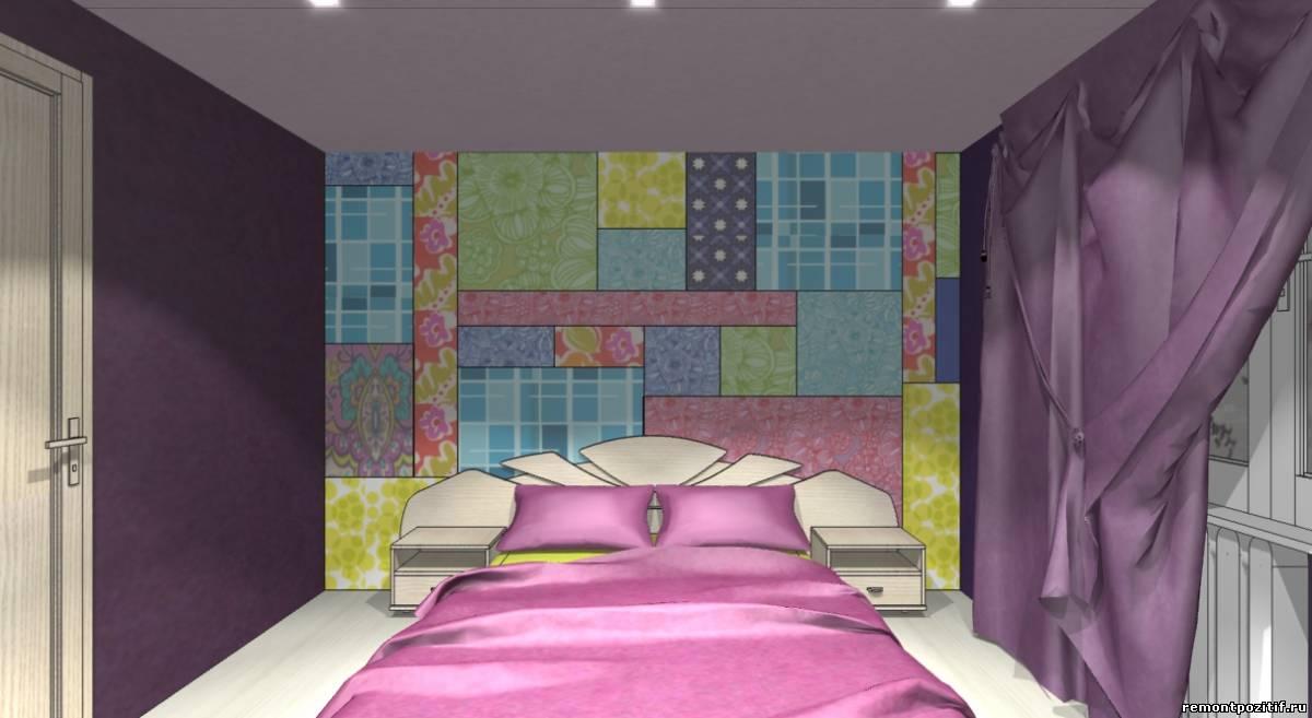 дизайн спальни в фиолетовом цвете