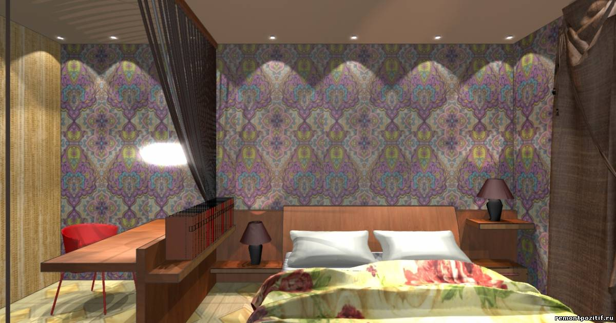дизайн интерьера спальни в восточном стиле