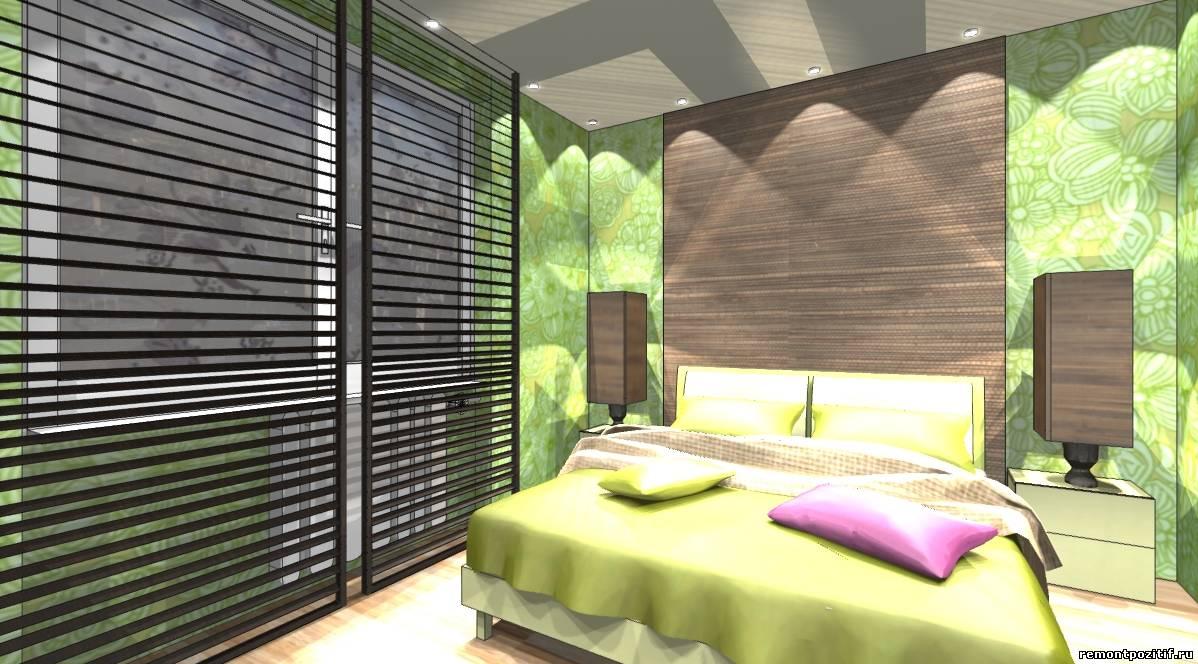 дизайн спальни в зеленом цвете