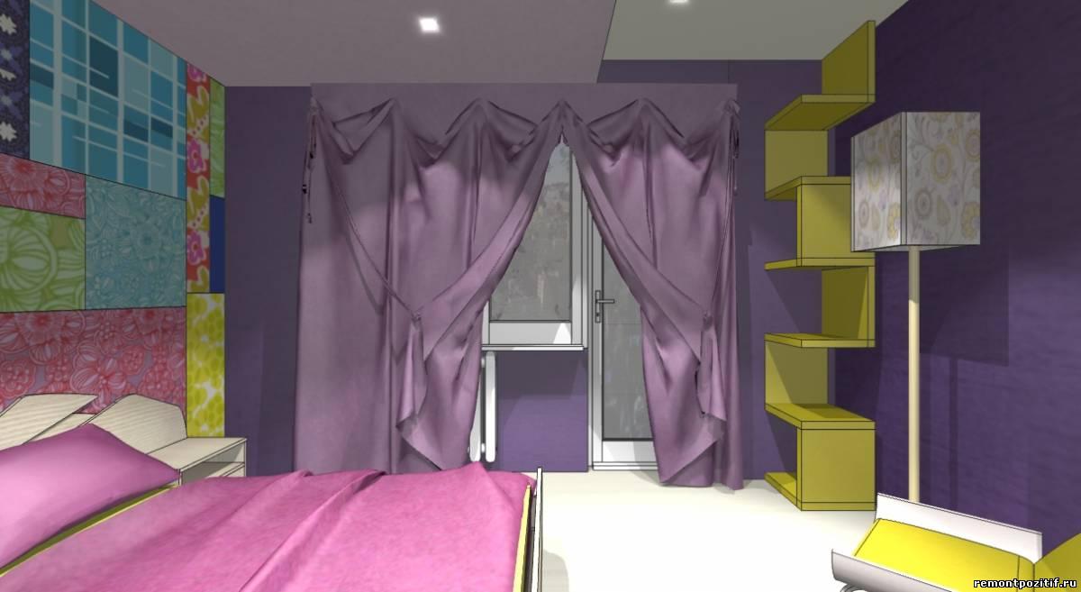 интерьер спальни в фиолетовом цвете