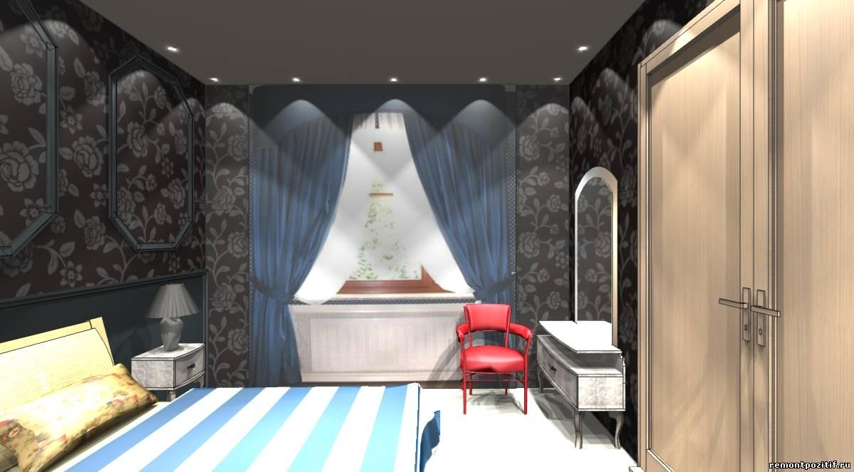 дизайн спальни с гардеробной комнатой