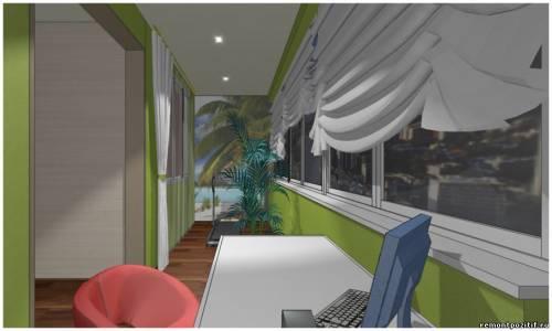Лоджия - рабочий кабинет. дизайн лоджии с рабочим местом и у.