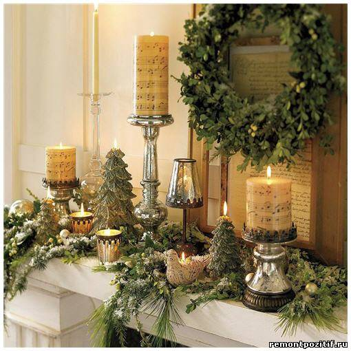 свечи для новогоднего украшения камина