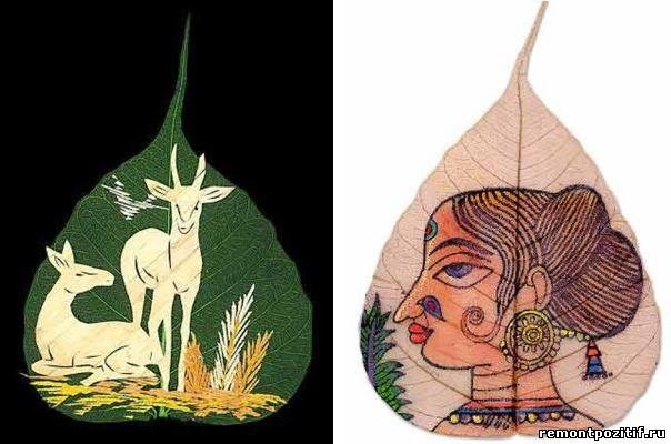 Рисунки на сухих листьях