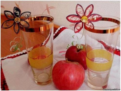 украшение на бокалы цветы