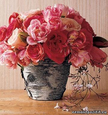 цветочный горшок декорированный берестой