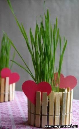 горшки для цветов декорированные прищепками