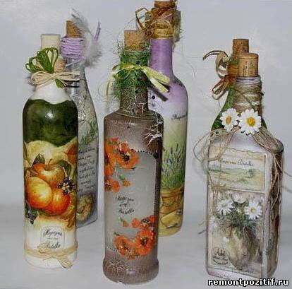 бутылки в технике декупаж