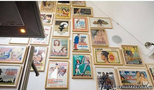 старые плакаты и афиши в дизайне стен