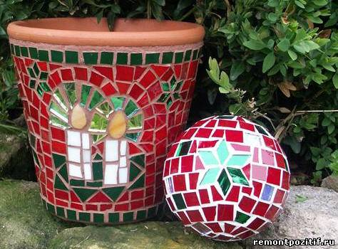 декор цветочного горшка мозаикой