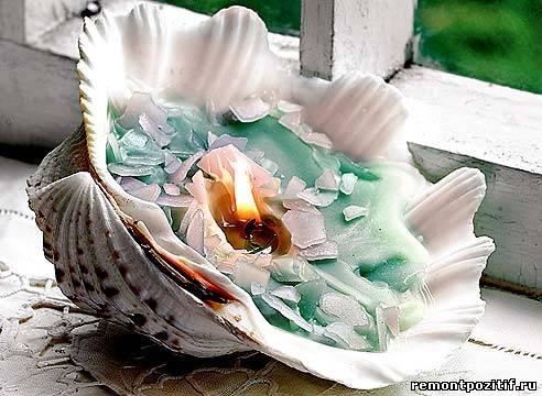 декоративная свеча в ракушке
