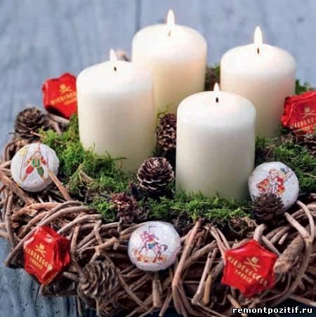 рождественский венок со свечами