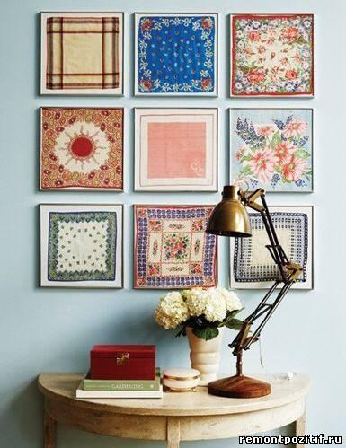 картины из платков в дизайне стен