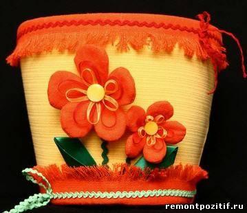 горшок для цветов украшенный тканью