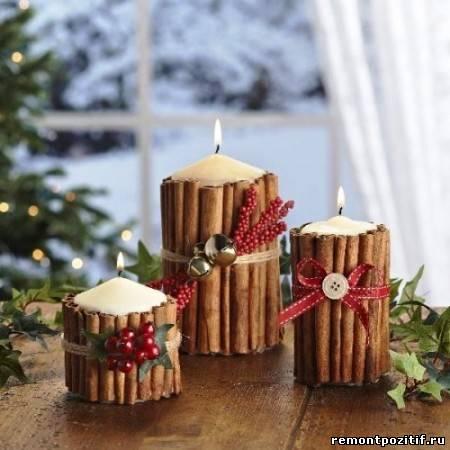свечи в подсвечниках из корицы