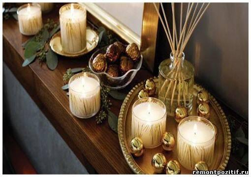 свечи для украшения камина к новому году и рождеству