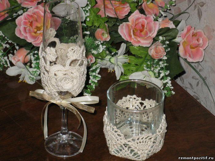 Вязаные украшения для стаканов
