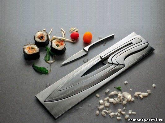 необычная подставка для кухонных ножей
