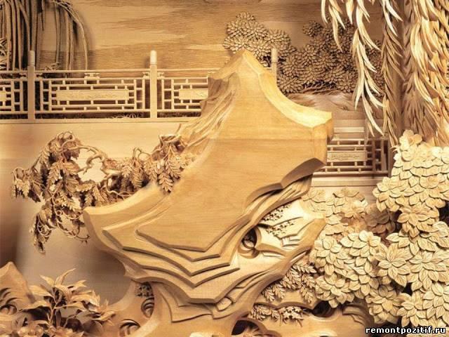 деревянное резное панно