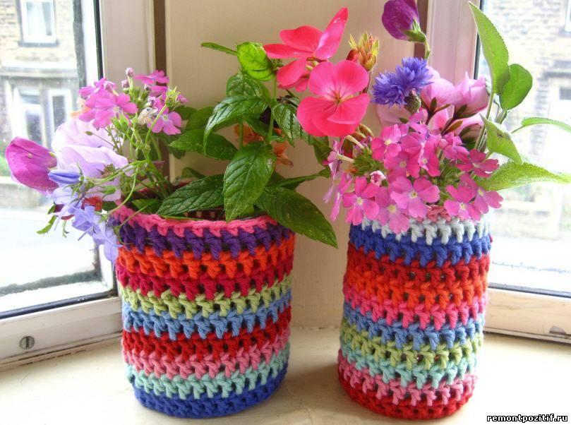 необычные цветочные горшки вязаные