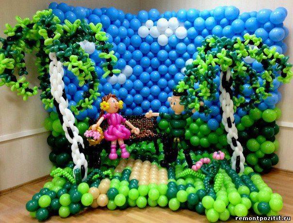панно из воздушных шаров для украшения интерьера