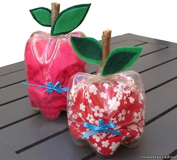 яблоки из пластиковых бутылок для дачи