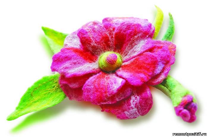цветок выполненный в технике сухого валяния