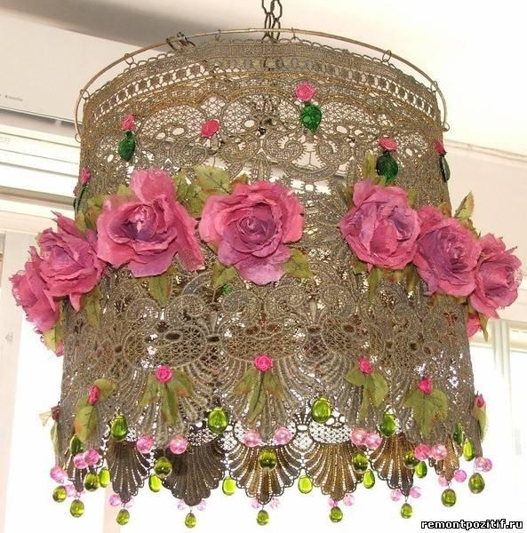 декоративный кружевной абажур