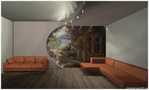 фреска на стене в гостиной
