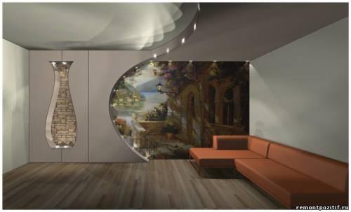 оформление стены фреской