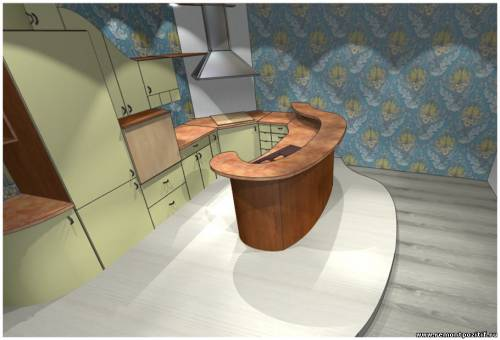 Дизайн подиума на островной кухне