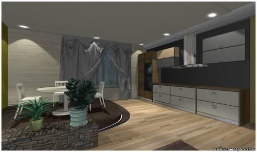 Дизайн подиума в кухне столовой