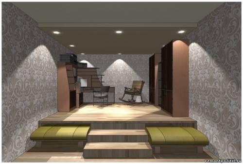 дизайн подиума в спальне 9