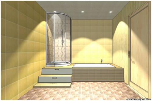 Подиумная конструкция в ванной комнате