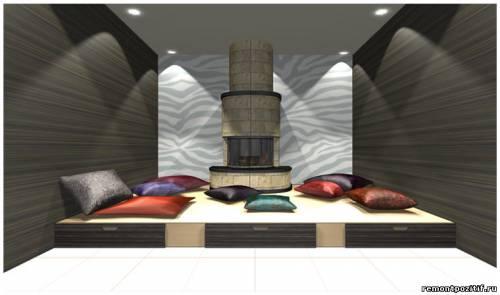 дизайн подиума с камином