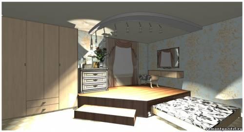 дизайн подиума в спальне 7
