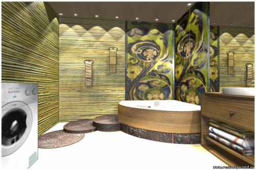 Дизайн подиума для ванной в экостиле