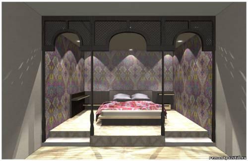 дизайн подиума в спальне