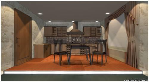 Дизайн подиума в кухне гостиной